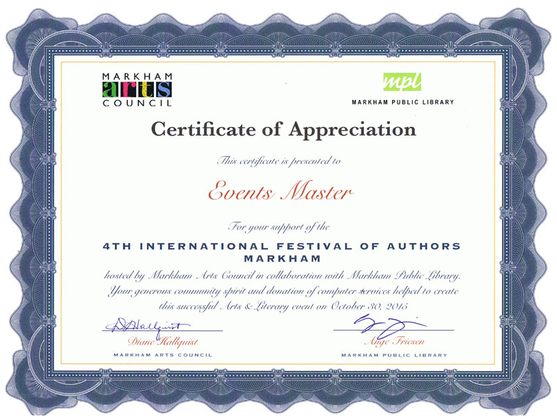 International Festival of Authors, Markham